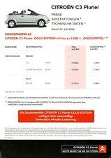 Citroen C3 Pluriel Gold Edition Preisliste 2004 1.7.04 Preise Sondermodell Auto