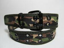 """Men Green Camo Fabric Belt Two Metal Hold with Black Buckle L 38 - 40"""" #2016"""