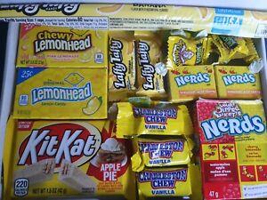 99p START  Yellow American Sweet Gift Box - nerds apple pie kit kat laffy taffy