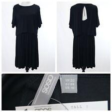ASOS Black Dress Size 16 (UK 20) Tank Crop Top Jersey Knit NEW Skater