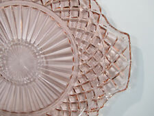 Cake Plate Pink Depression Hocking Glass Waterford Waffle Vtg Diamond Cupcakes