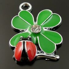 20pcs Green Tone Alloy Enamel Four Leaf Clover Ladybug Pendant Charms Jewelry