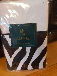 Ralph Lauren Rodeo Drive Black White Cuff King Pillowcases  NIP Cotton