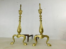 Vintage Antique Metalcrafter Made Solid Brass Chippendale Fireplace Andirons Dog