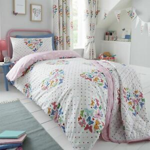 HLC Girls Kids Hearts Butterflies White Pink Duvet Cover Curtains Throw Bunting