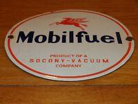 "VINTAGE MOBIL MOBILFUEL PEGASUS 12"" PORCELAIN METAL GASOLINE OIL SIGN PUMP PLATE"