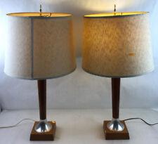 Pair Mid Modern Walnut & Brass Table Lamps Lot 2279