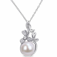 Amour Sterling Silver Cultured FW Pearl and Diamond-Accent Floral Pendant