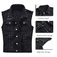 Men Waistcoat Jacket Sleeveless Casual Punk Zipper Denim Vest Jeans with Rivets