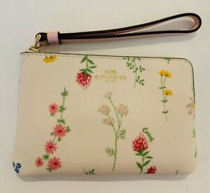 COACH, Corner Zip Wristlet With Spaced Wildflower Print, chalk, multi