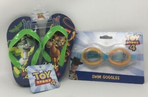 Disney Pixar Toy Story 4 Swim Goggles and Summer Boys Flip Flops Size: 9/10