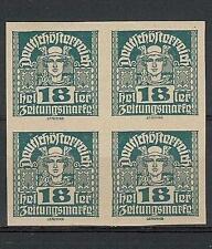 Austria 1920 Sc# P38 imperf Mercury 18h Manarchy issue newspaper block 4 MNH