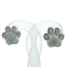 Paw Earrings Made With Swarovski Crystal Dog Cat Kitty Pet Pawprint Blue Jewelry