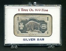 United States Note Design With Buffalo 1 Oz. Silver Bar .999 Pure
