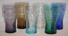 6 Multi Color Coca Cola Glasses 14 oz Purple Turquoise Cobalt Green Smoke Clear