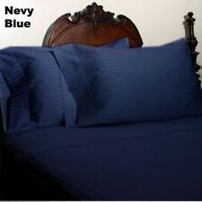 Navy Striped Queen Size 4 Pc Sheet Set 1000 Thread Count 100% Egyptian Cotton