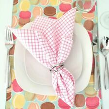 """Pink Check 18"""" Napkins Set of Four (4) - Cotton, Yarn Dyed"""
