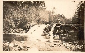 Vintage Postcard 1910's RPPC Woman on top of Water Falls Photo