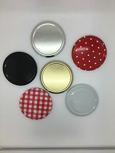 Replacement Jam Jar Lids 82mm Twist Off in choice of colours - Pack of 50
