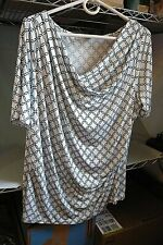 WOMAN'S WORTHINGTON DRESSY DRAPE TOP-White with Turquoise/Black Print-Size XL
