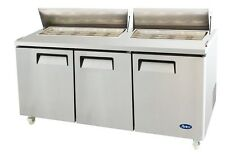 """ATOSA MSF8304 72"""" 3 DOOR SANDWICH PREP TABLE REFRIGERATED w/ CASTERS & PANS"""