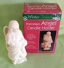 Angel Candle Holder Handcrafted Winter Friends Collection Porcelain Christmas