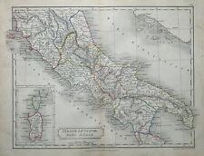 ITALY, PIOMBINO TO GULF OF TARANTO,  Original Classical Antique Map c1840