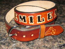 Kids Genuine Leather Belt with Name Horse Head & Horse Shoe