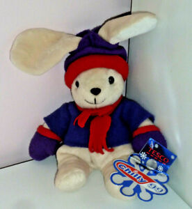 Tesco Chilly 99 Bunny Rabbit Beige Cream Soft Beanie Toy Purple Red Hat Gloves