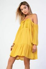 Glamorous Tall Cold Shoulder Dress Mustard Size UK 12 Lf083 PP 09