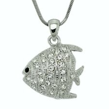 FISH W Swarovski Crystal Sea Ocean Coral Reef Aquarium Pendant Necklace Gift