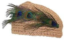 D&Y Womens Rib Knit Winter Headband W/Peacock Feathers & 2 Buttons #476 Camel