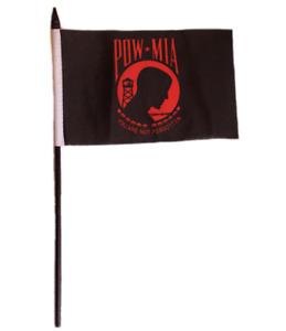 """POW MIA POWMIA Red 4""""x6"""" Flag Desk Set Table Stick Staff"""