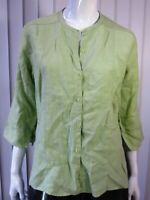 Eileen Fisher Button Down Linen Mock Neck Blouse Top Size S Green 140