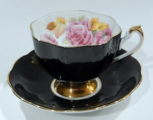 1950s Queen Anne PINK ROSES & GOLD LEAVES CUP & SAUCER BLACK Colorway Exc Cond