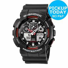 Casio GA-100-1A4ER Men's Resin Strap G-Shock World Timer Watch - Black/Grey
