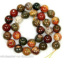 NATURAL PICASSO JASPER GEMSTONE ROUND LOOSE BEADS 15'' AAA+