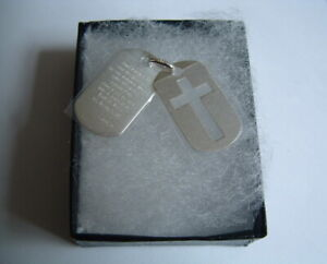 New 925 Sterling Silver lords prayer double tags cross pendant gift box