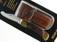 Schrade LB7 Uncle Henry Wood Bear Paw Straight Folding Pocket Knife + Sheath