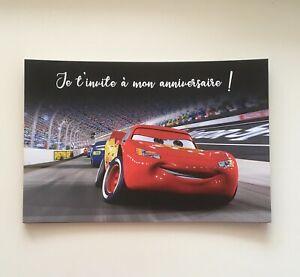 Lot de 10 Invitations Cartes Anniversaire Cars Pour Fête d'Anniversaire Enfants