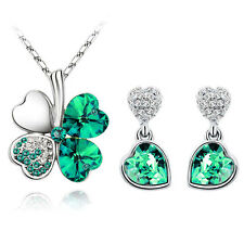 Diamante Crystal Green Jewellery Hearts Set Drop Earrings Necklace Pendant S875