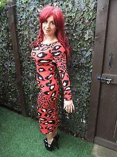 Long Noir & Rouge Imprimé Animal Moulante Extensible Wiggle été robe de soirée ~ UK 8