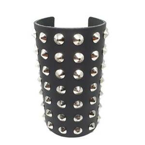 Bullet 69 Premium Black Leather 7 Row Studded Wristband - Gothic,Goth