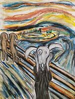 See Spot Scream Dog Art Print 8 x 10 Artist KSams Van Gogh Parody Impressionism
