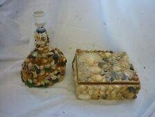 More details for pair of shell seashell items glass table lamp and trinket box 1960s sea side