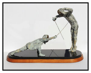 Maureen Riley Large Bronze Sculpture Signed Full Round Res Judicata Fencing Art