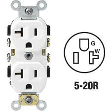 100-Leviton 20A White Shallow Commercial Grade 5-20R Duplex Outlet S02-0BR20-0WS