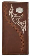 3D Western Mens Wallet Leather Rodeo Stitch Concho Distressed Brown W262