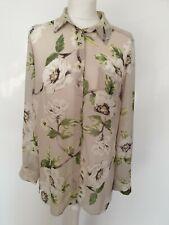 Betty Jackson Black Top Shirt Blouse Beige Floral Print Mesh Seethrough Work 12