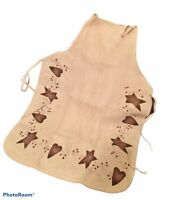 Prim Country Apron Hearts Stars Berries Farmhouse Rustic Hand painted